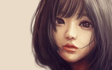 art, girl, painting, asian, haircut, eyes. look