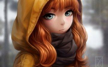 art, girl, anime, hood, scarf, kotikomori
