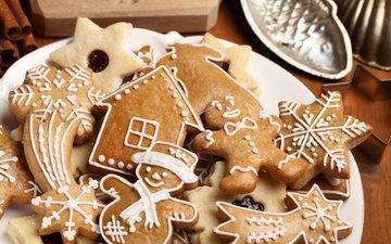 новый год, рождество, сладкое, печенье, выпечка, глазурь, xmas, декорация, елочная, merry