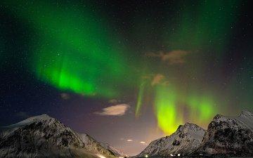 ночь, горы, пейзаж, море, звезды, горизонт, северное сияние, исландия