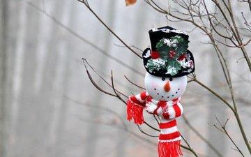 ветки, игрушка, снеговик, праздник