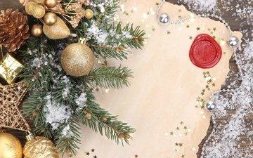 снег, новый год, елка, шары, украшения, письмо, рождество, елочные игрушки, клубки, декорация, елочная, merry