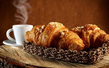 кофе, корзина, выпечка, корзинка, аромат, круассаны, pastries