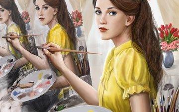 арт, девушка, картина, краски, взгляд, волосы, живопись, кисть, бантик, художница