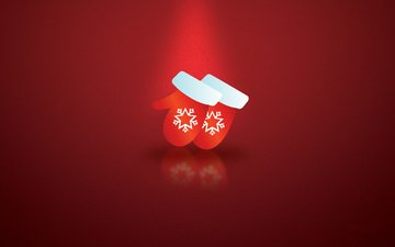snow, background, red, holiday, snowflake, mittens