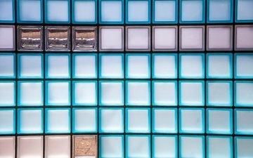 цвета, стена, расцветка, квадрат, стеклянные кирпичи