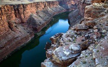 река, камни, каньон, ущелье, обрыв