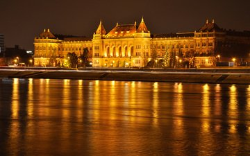 небо, ночь, огни, река, дворец, венгрия, будапешт