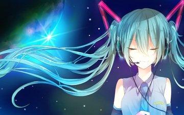 art, girl, microphone, anime, headphones, vocaloid, miyanishi tsuki, hatsune miku