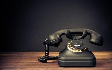 ретро, черный, телефон, блака, настольный, настольная