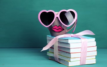 glasses, coffee, books, mug, lips, cup, cute, funny, mustache