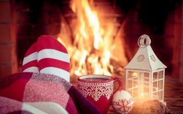 новый год, украшения, камин, рождество, кубок, xmas, декорация, огненная, елочная