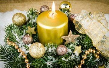 снег, свечи, новый год, елка, украшения, подарки, рождество, елочные игрушки, венок, xmas, дары, декорация, елочная, merry