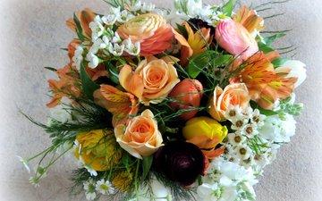 цветы, розы, букет, лютик, альстрёмерия, морозник