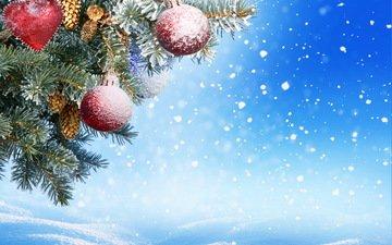 снег, новый год, шары, украшения, зима, рождество, клубки, декорация, елочная, merry