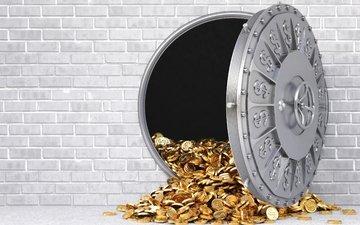 wall, money, gold, wealth, gray, reinforced door