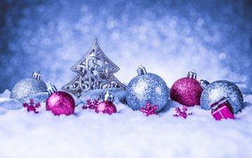 снег, новый год, шары, украшения, рождество, клубки, декорация, елочная, merry