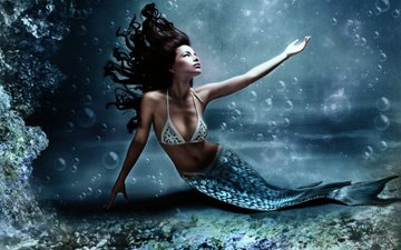 water, girl, fiction, bubbles, girls, mermaid