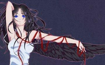 art, girl, look, wings, anime, angel, hair, blue eyes, white dress