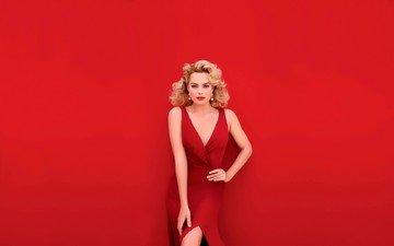 girl, background, blonde, look, red, actress, makeup, curls, red dress, earrings, neckline, margot robbie