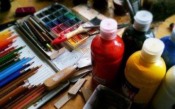 карандаши, краска, ручки, инструменты, творчество, живопись, акварель, художник, канцелярские товары, акрил