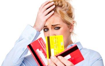 блондинка, блонд, кризис, debit cards, concern, expenses, дебетовые карты, финансовый, беспокойство, расходы