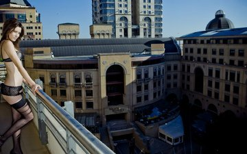 девушка, город, балкон