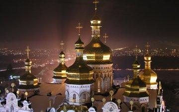 ночной город, киев, днепр, лавра, святая успенская киево-печерская лавра