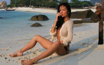 девушка, море, песок, пляж, кети, красотка, fay