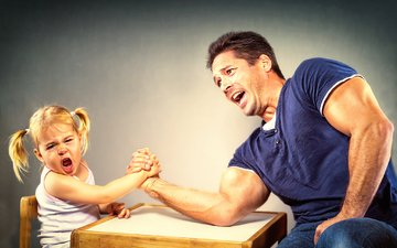 girl, male, family, dad, daughter, arm wrestling, tournament