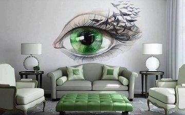 рисунок, комната, на стене