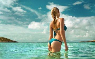the sky, girl, sea, blonde, obloka