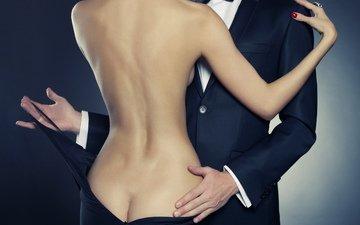 брюнетка, любовь, костюм, мужчина, красотка, черное платье, талия
