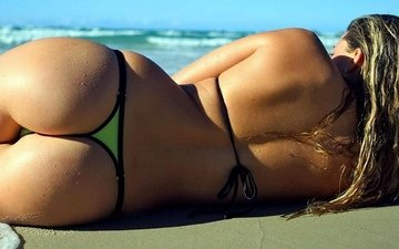 girl, sea, lies, back, ass, in the sand, sexy