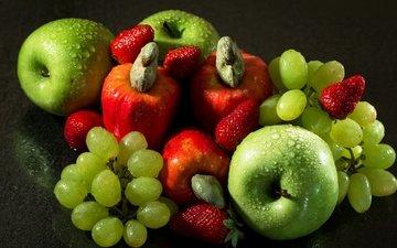 виноград, капли, фрукты, яблоки, клубника, плоды, эппл, виноградные