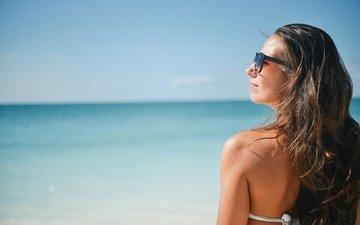 солнце, девушка, пляж, солнцезащитные очки
