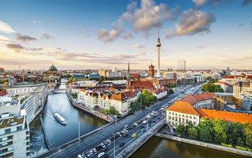 река, город, германия, берлин