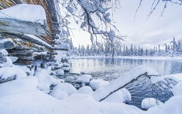 lake, snow, winter, the snow, finland, lapland, akaslompolo, ylläs