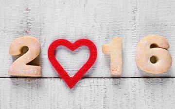 дерево, новый год, сердечко, краска, доски, праздник, белая, дата, печенье, 2016