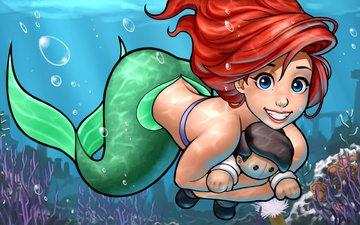 art, girl, smile, beauty, red, face, mermaid, the little mermaid, ariel