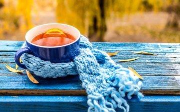 осень, лимон, чашка, чай, клен, опадают, кубок, осен, шарф, листья, осенние листья