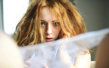 девушка, взгляд, лицо, красива, рыжеволосая, francesco stifani