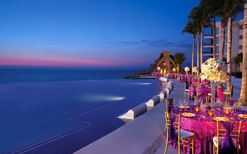 вечер, море, бассейн, ресторан