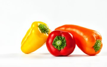 овощи, перец, bell peppers, yellow bell pepper, red bell peppers