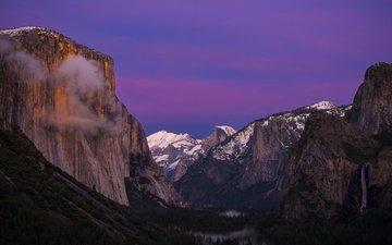 горы, снег, природа, лес, водопад, вершины