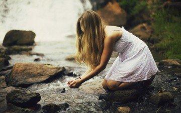 вода, природа, девушка, водопад