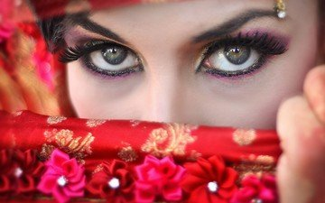 глаза, рука, девушка, взгляд, макияж, тени, цветочки, ресницы, подводка