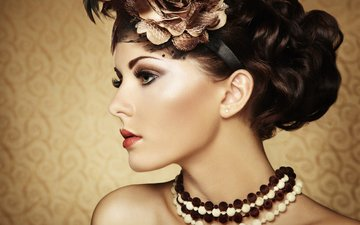 девушка, фон, профиль, кудри, волосы, бусы, макияж, украшение, шея