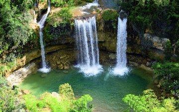 вода, скалы, природа, камни, водопад
