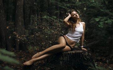 деревья, лес, девушка, трусики, пень